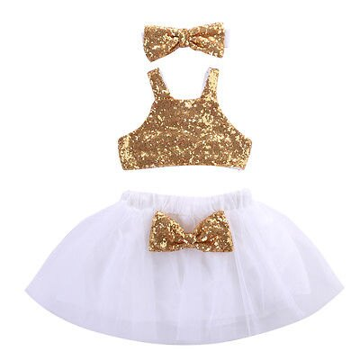 e468d3a3b2cb Toddler Baby Girls Gold Sparkle Sequins Design Tops Tutu Skirt and 3 Pcs  Outfit Set