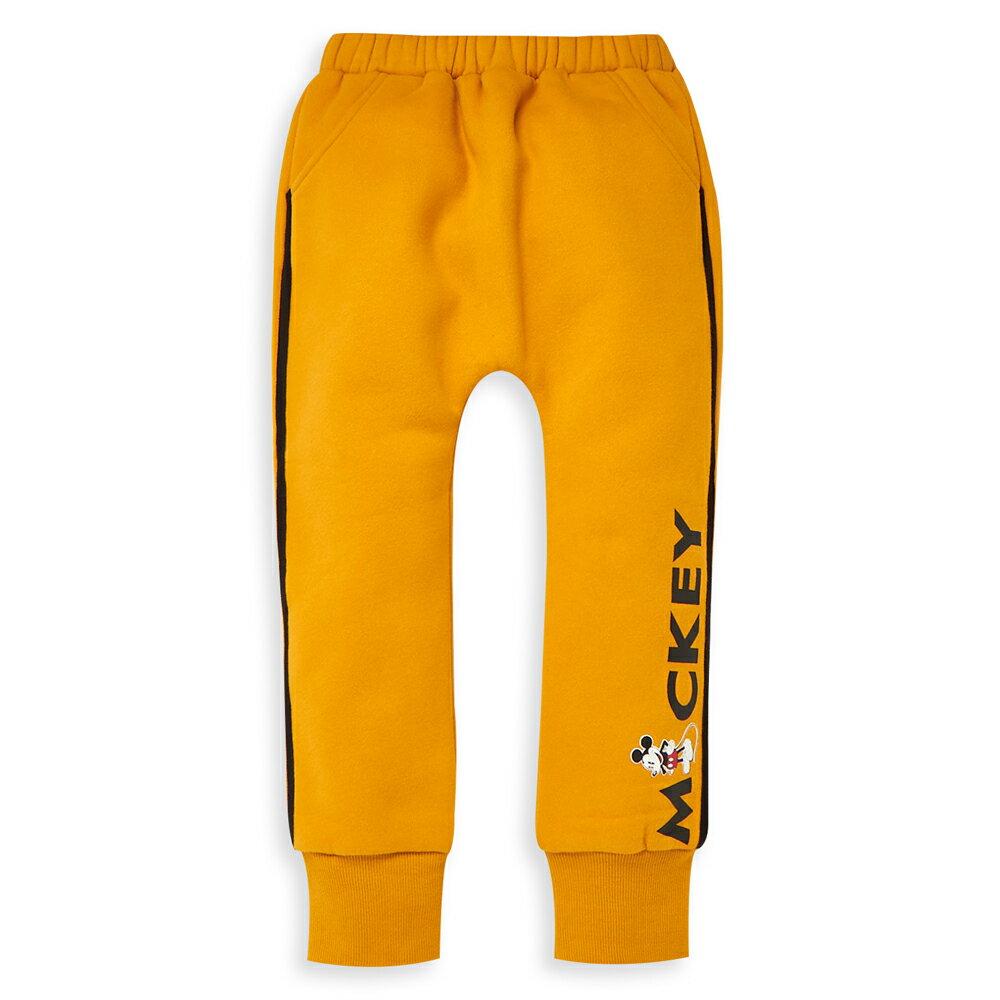 Disney 米奇系列運動刷毛長褲-芥黃 - 限時優惠好康折扣