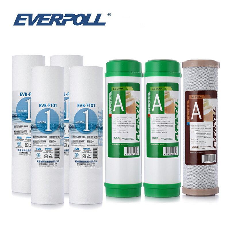 EVERPOLL EVB-F101 1微米PP濾心4支 EVB-U100A顆粒活性碳2支 EVB-C100A壓縮活性碳(共7支)