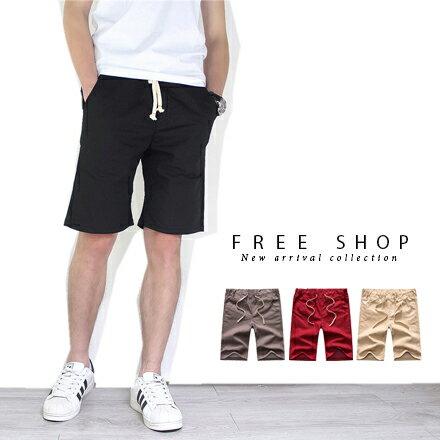 Free Shop 美式休閒後口袋星星電繡LOGO抽繩休閒短褲五分短褲潮流短褲【QMD55602】