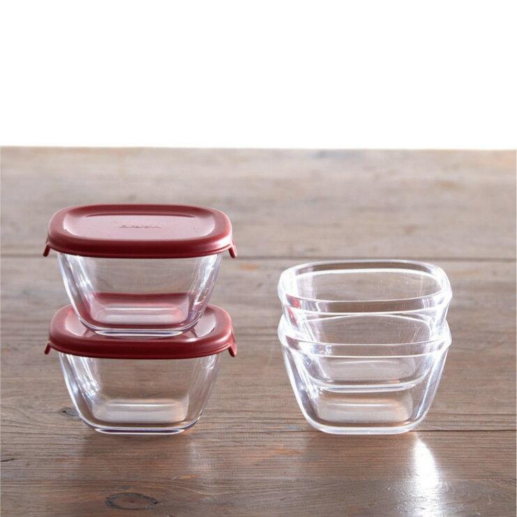 HARIO 方形玻璃保鮮盒4件組/紅色/MKK-2012-R 4