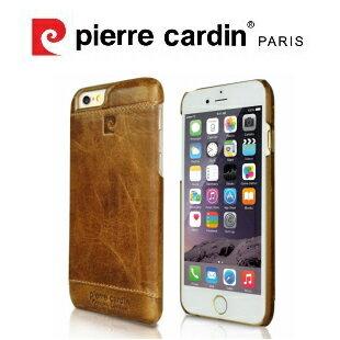 [ iPhone6/6S ] Pierre Cardin法國皮爾卡登4.7吋高級牛皮品牌經典不敗款真皮手機殼/保護殼 棕色