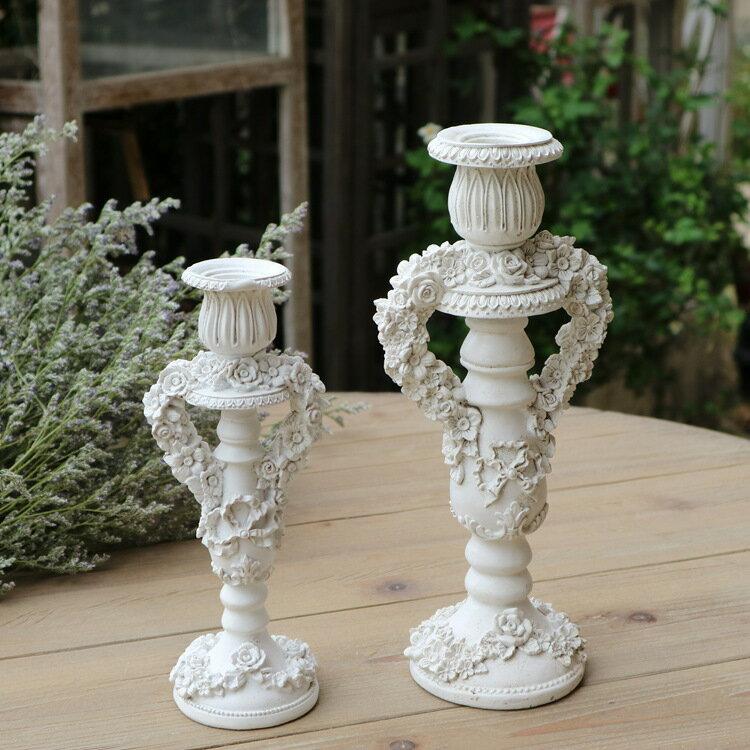美女與野獸復古宮廷玫瑰花燭臺 樹脂組合燭臺 家居裝飾品櫥窗陳列1入