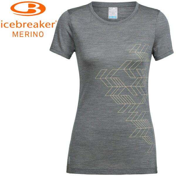 Icebreaker排汗衣短袖T恤美麗諾羊毛TechLite女圓領短袖上衣JN130IB104164001地殼堆疊灰