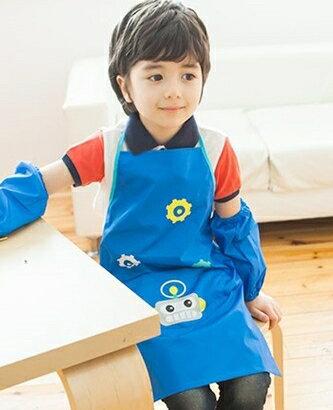 Kocotree◆可愛機器人卡通造型防水耐髒環保圍裙式綁帶罩衣畫畫衣-深藍