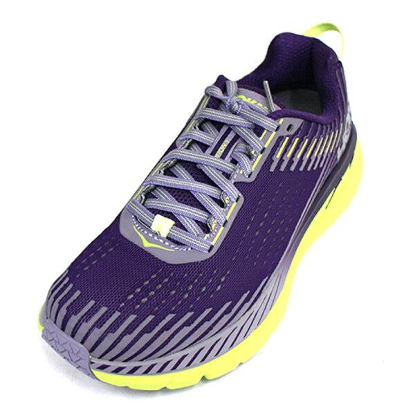 HOKAONEONE女慢跑鞋Clifton5(紫黃)輕量穩定超緩震跑鞋HO1093756GRLA【胖媛的店】