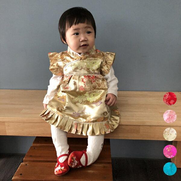 牡丹刺繡旗袍洋裝+褲褲 唐裝 寶寶旗袍裝 新年 周歲 中國風 童裝 橘魔法 抓周 女童 寶寶過年衣\t【p0061168802085】
