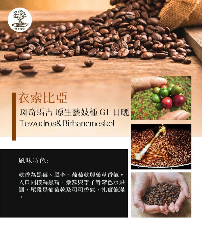 [微美咖啡]超值1磅750元,斑奇馬吉 原生藝妓種 G1 日曬(衣索比亞)淺焙咖啡豆,滿500元免運,新鮮烘焙