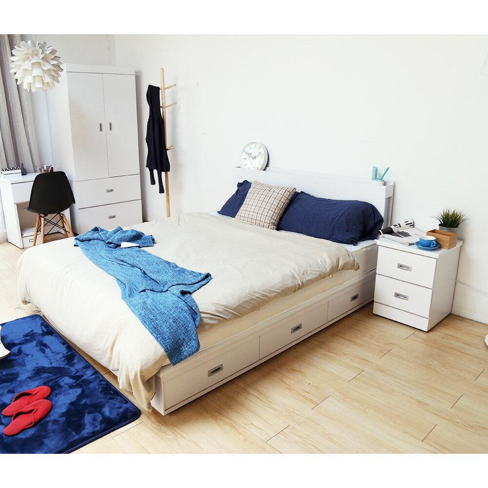 輕旅風系列5尺房間組-4件式-床頭+抽屜床底+床墊+二抽櫃 / DIGNITASII狄尼塔斯  /  H&D 4