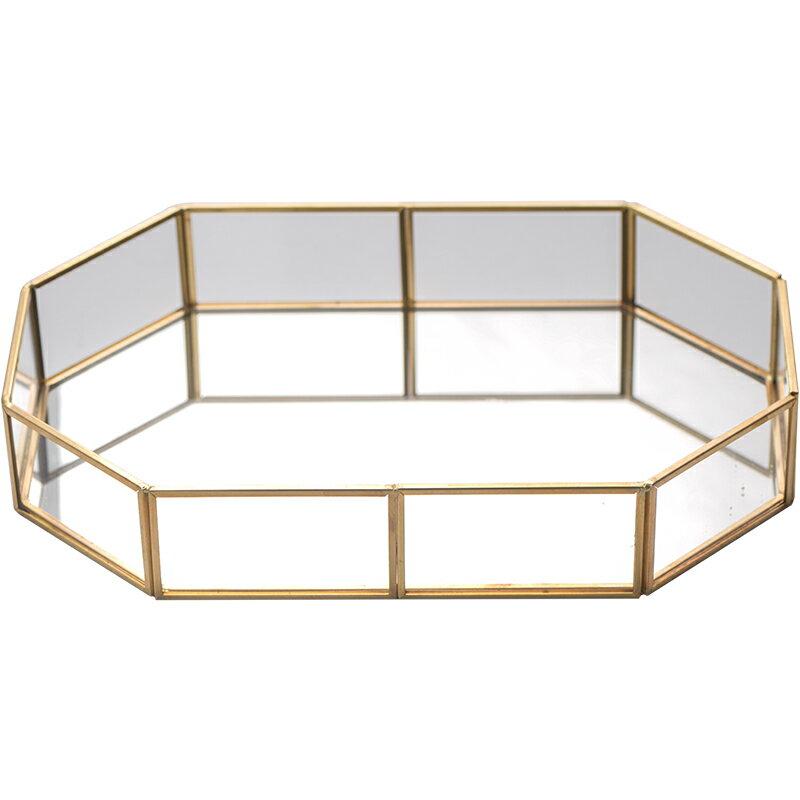 復古創意設計展示八邊形玻璃首飾盒珠寶首飾收納盤玻璃托盤