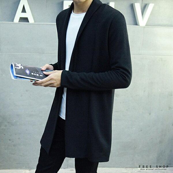 FreeShop韓版修身長版風衣針織外套真型男百搭紳士簡約時尚款穿搭顯瘦拉長英倫風【QAAED7301】