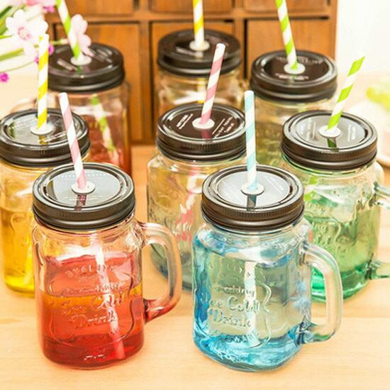 PS Mall 創意紙吸管漸變色玻璃杯 梅森瓶漸變系列 水壺 水杯 情侶杯 杯子【J2012】