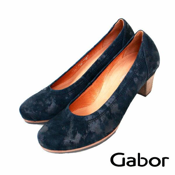 【GABOR 單一降價 │全店免運】GABOR  靛藍皮革素面質感低跟鞋