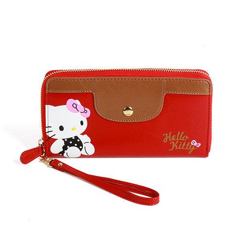 X射線【C005114】Hello Kitty 壓印風長夾,美妝小物包/筆袋/面紙包/化妝包/零錢包/收納包/皮夾/手機袋/鑰匙包