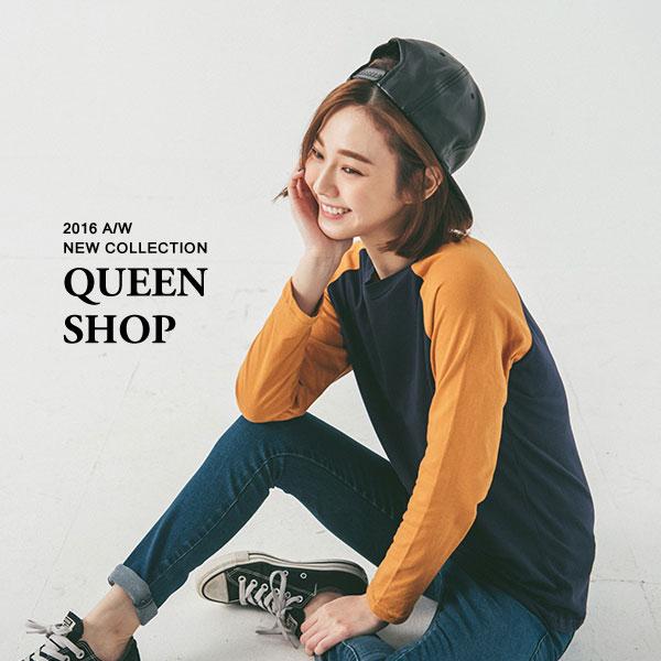 Queen Shop~01035954~配色袖拼接棒球棉T 兩色售 ~  ~ ~  好康折
