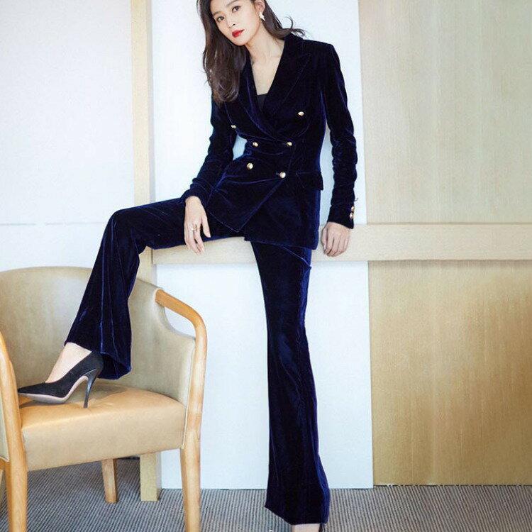 2021同款金絲絨西裝套裝女秋時尚新款韓版氣質職業西服兩件套