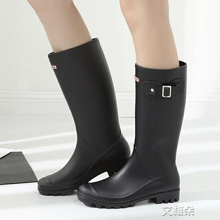 長筒雨靴 英倫時尚雨鞋女士高筒防水雨靴長筒韓版雨鞋馬丁成人水鞋套鞋 交換禮物 全館限時8.5折特惠!