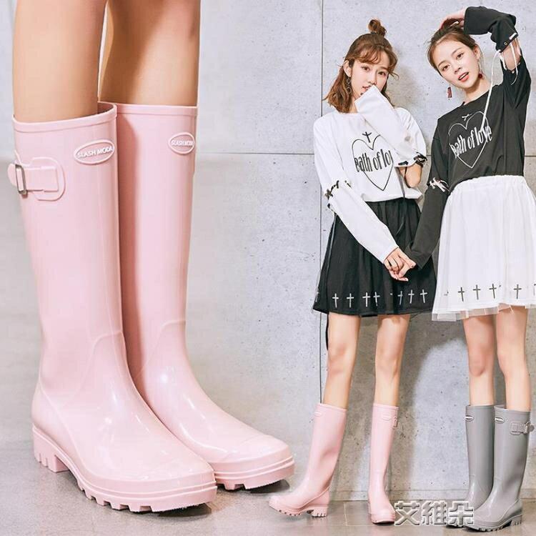 長筒雨靴 SLASHMODA英倫時尚膠鞋水鞋女可愛雨靴成人高筒水靴防滑女士雨鞋 交換禮物 全館限時8.5折特惠!