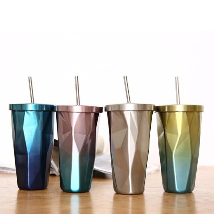 不規則個性保溫杯冰咖啡便攜吸管杯子大容量水杯冰霸杯主播喝水杯 全館限時8.5折特惠!