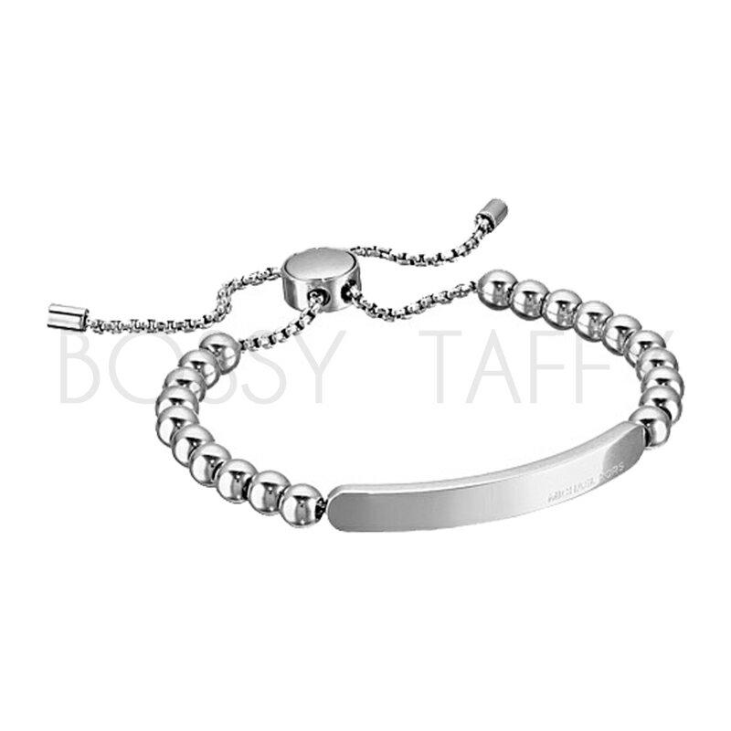 MICHAEL KORS 經典銀串珠可調式金屬板手鍊 Silver Beaded Logo Plate Slider Bracelet RoseGold