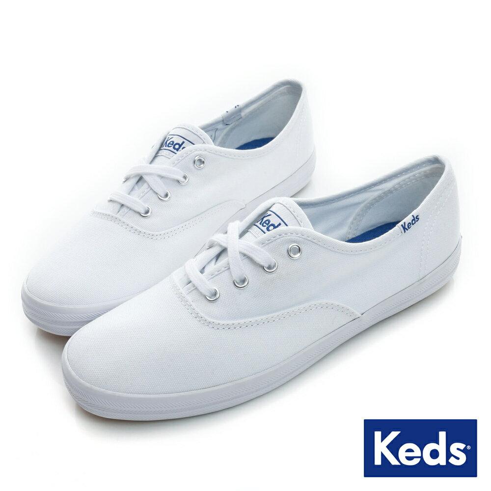 【KEDS 促銷85折│全店免運】KEDS 經典長青帆布鞋(寬楦)-白 白鞋│綁帶│平底鞋