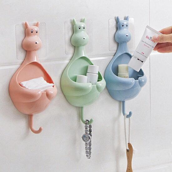 ♚MYCOLOR♚可愛袋鼠吸盤置物架牙膏掛勾收納盒壁掛式浴室刷牙洗臉收納兒童【X43】