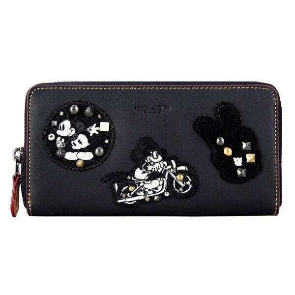 COACH奢侈品女款黑色皮質迪士尼系列長款錢包錢夾F59340