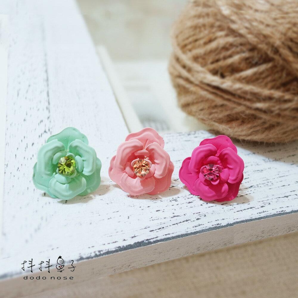 亮鑽玻璃球花朵耳環(3色) 4