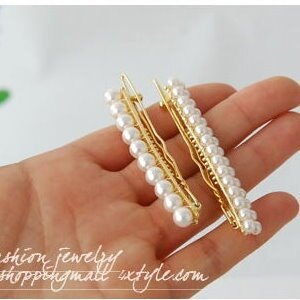 美麗大街【PLGE804】白色珍珠一字單排髮夾