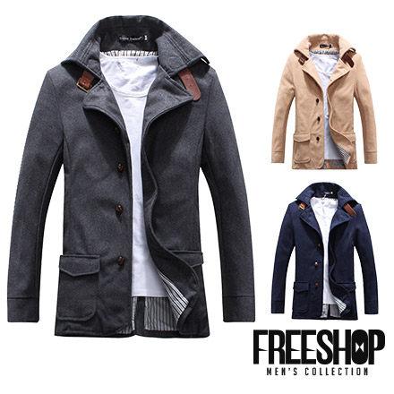 大衣外套 Free Shop【QMD50098】日韓風格大翻領皮革扣環排扣造型長版毛呢西裝外套大衣外套 三色