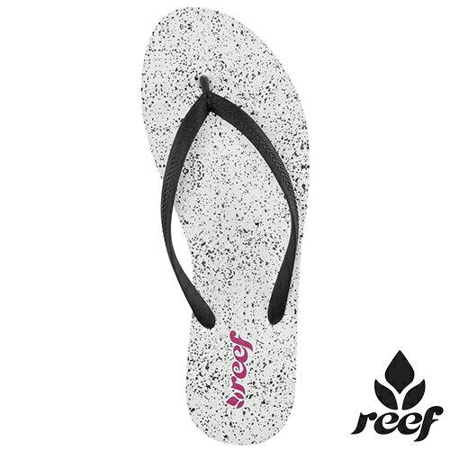【 6 折下殺↘】us5 us6 us7 . REEF 基本款天然橡膠潑漆街頭風 防滑耐磨舒適好穿 女款夾腳拖 人字拖鞋 .潑漆白