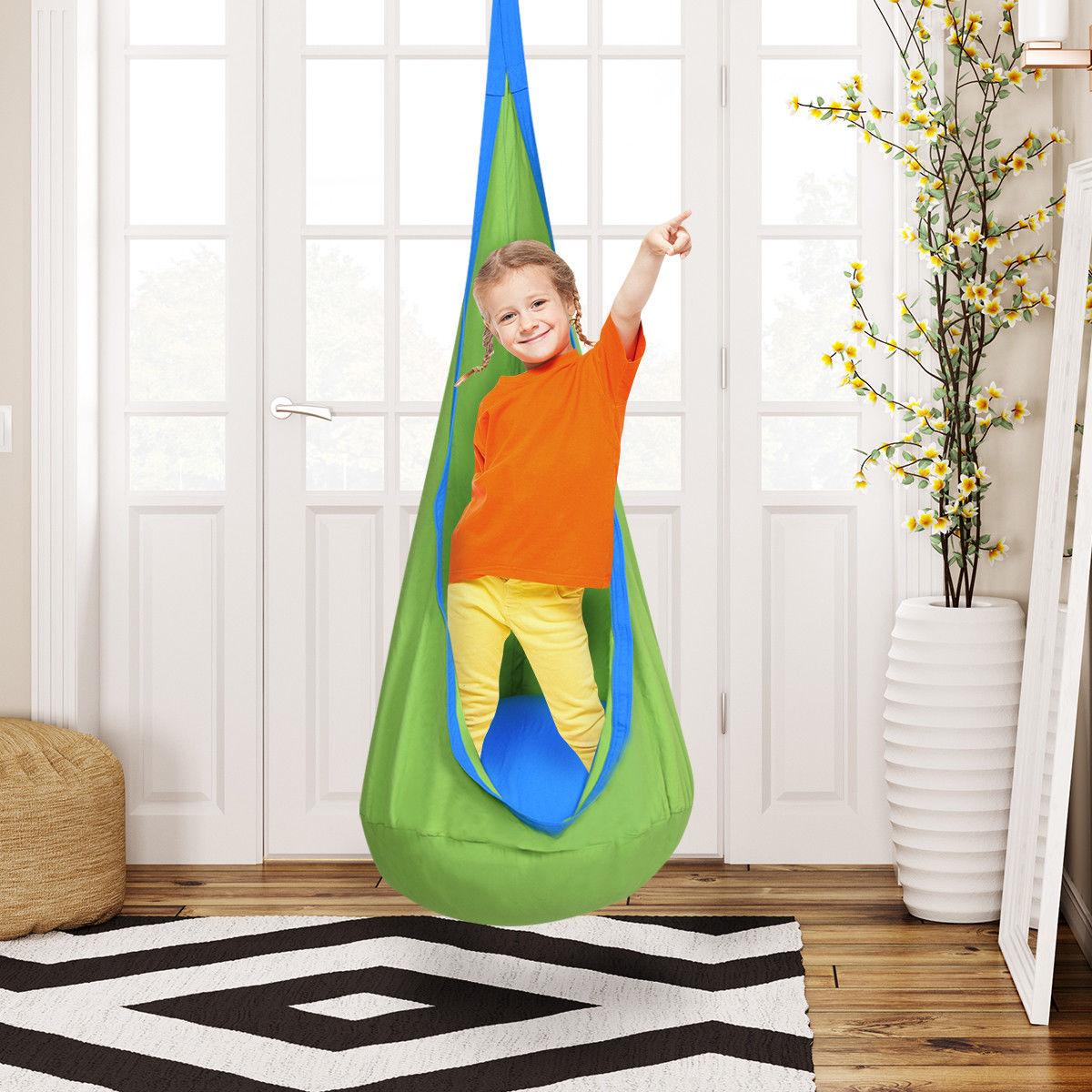 Costway Child Pod Swing Chair Tent Nook Indoor Outdoor Hanging Seat Hammock  Kids 2