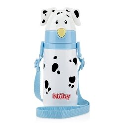【Nuby】不鏽鋼真空學習杯細吸管大麥町狗狗 420ml (藍)