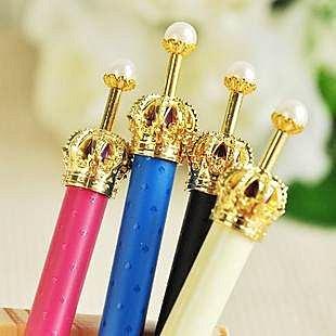 =優生活=韓國文具 閃耀小皇冠原子筆 華麗珍珠金色皇冠公主 原子筆