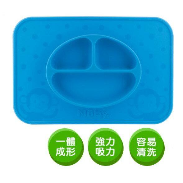 麗嬰兒童玩具館~美國NUBY專櫃-小猴子矽膠餐盤加大方型款.一體成形分隔設計.食物不灑落