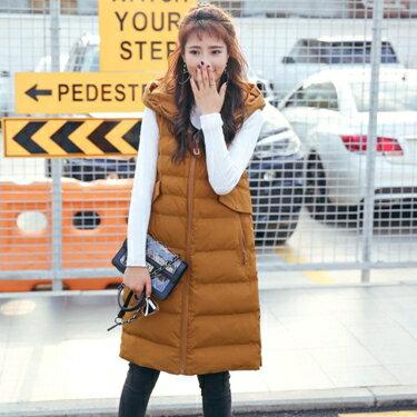 羽絨服 特價清倉馬甲女冬2019新款韓版寬鬆連帽中長款輕薄羽絨棉背心外套