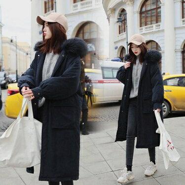 ins羽絨棉服女學生寬松韓版棉衣女中長款面包服冬季過膝加厚外套  全館八八折