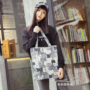 購物包 百搭單肩包少女帆布簡約書包仙女chic托特包時尚購物袋   全館八八折