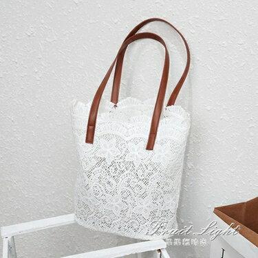 購物包 夏日蕾絲唯美森系單肩包 手提女士購物袋   全館八八折