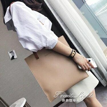女包包新款日韓版時尚潮托特包簡約百搭撞色手提包單肩包大包    全館八八折