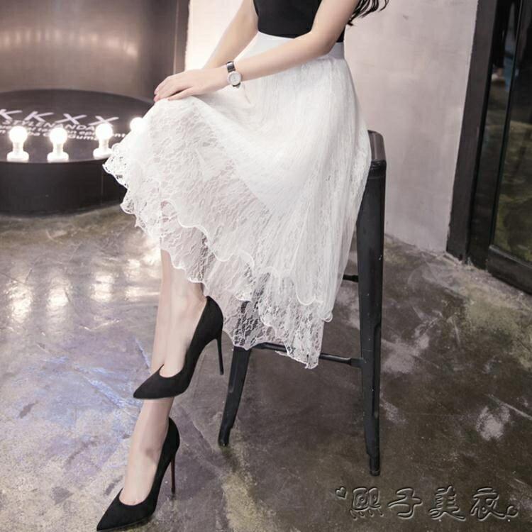 紗裙 超火網紗裙子女夏裝A字裙甜美前短後長初戀蕾絲半身中長裙 全館八八折