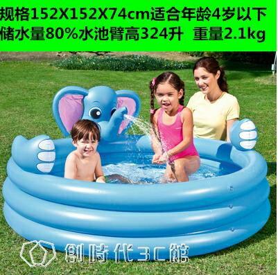 泳池 兒童帶滑梯游泳池充氣嬰兒家用可噴水寶寶戲水池加厚超大號洗澡池 全館八八折