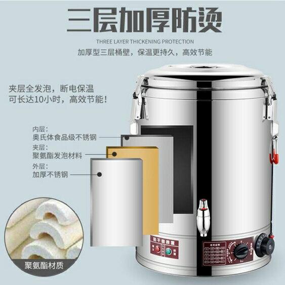30-80L不銹鋼電熱蒸煮桶商用陶晶不粘盤雙層保溫開水桶粥飯桶湯桶 喜迎新春
