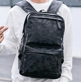 後背包 男雙肩包韓版休閒潮流旅行電腦大背包pu皮女個性時尚簡約書包 全館八八折