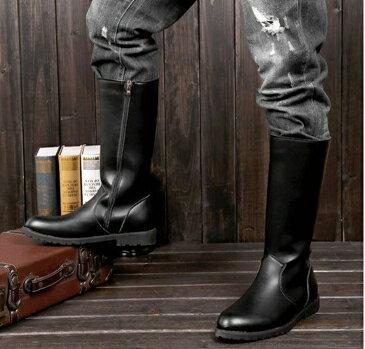 馬丁靴 男女皮靴男鞋COSPLAY動漫游戲騎馬靴儀仗隊長靴馬丁靴子黑色-樂活 全館八八折