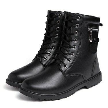 馬丁靴 高幫皮鞋男式潮流馬丁靴英倫防水短靴金屬軍靴復古高筒棉靴男 喜迎新春