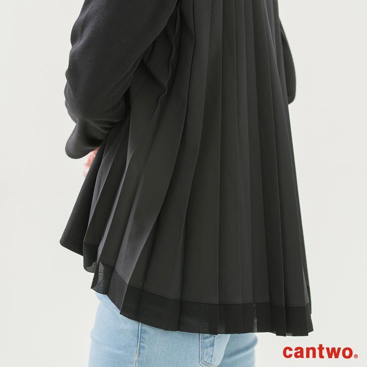 cantwo異素材拼接襯衫領長袖上衣(共二色) 6