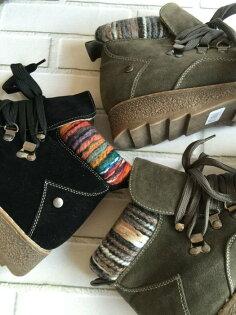 Pyf♥圓頭厚底靴西施絨短筒低跟混色馬丁靴4142大尺碼女鞋