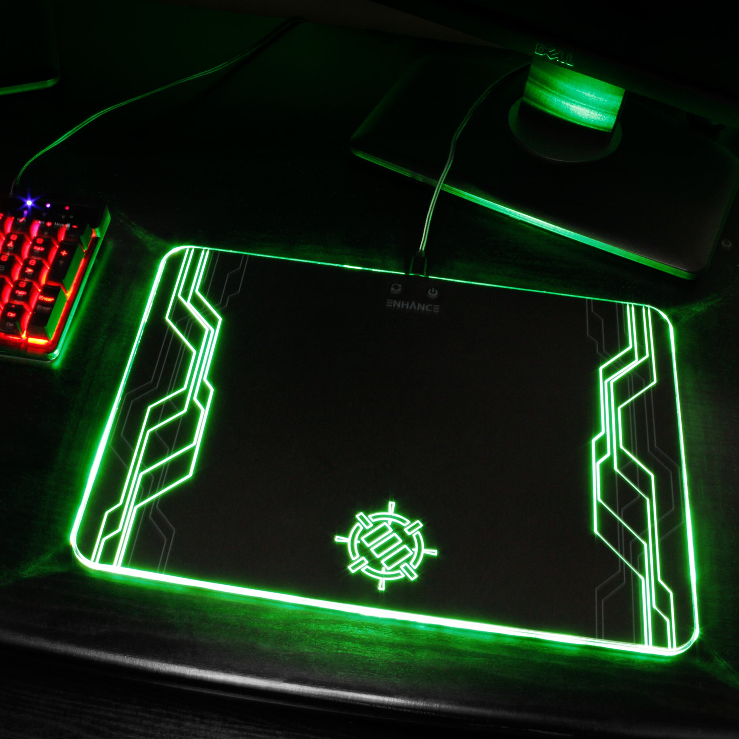 ENHANCE Large Hard Surface LED Gaming Mouse Pad - 7 RGB Light Up Modes & Brightness Control 7