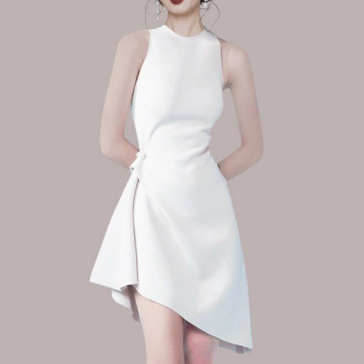 跨境2021小香風法式名媛收腰黑色聚會連衣裙顯瘦年會禮服宴會裙